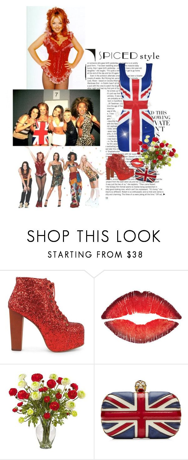 """Spice Girls: Ginger Spice"" by priscilla12 ❤ liked on Polyvore featuring Jeffrey Campbell, Givenchy, Nearly Natural, Alexander McQueen, 90s and SpiceGirls"