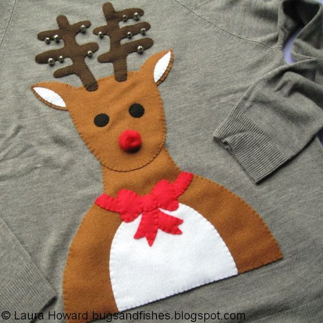 Bugs and Fishes by Lupin: Tutorial: DIY Reindeer Novelty Christmas Jumper