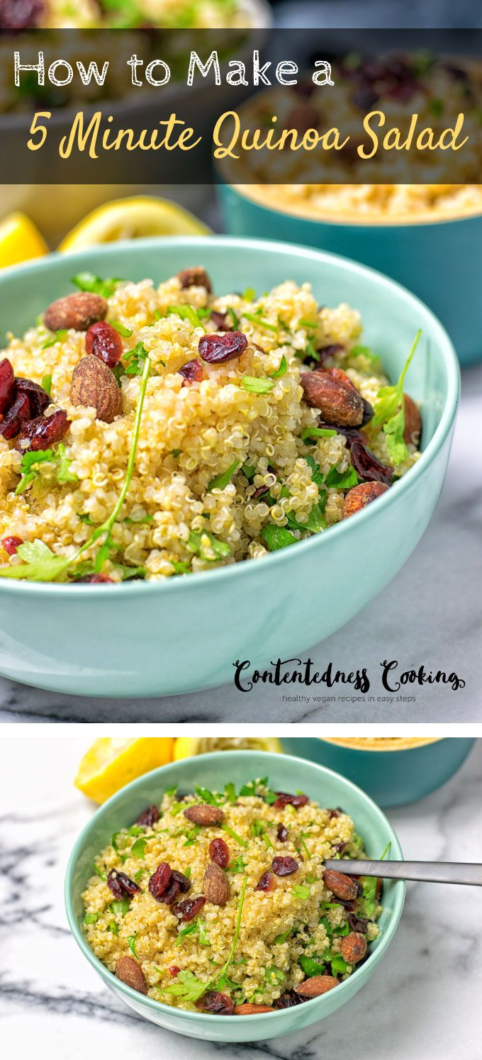 Let me show you how to make a 5 minute Quinoa Salad from just 6 ingredients. One simple easy step and this vegan, gluten free, delicious salad is yours to enjoy. Take it for lunch or dinner, or as an amazing appetizer.