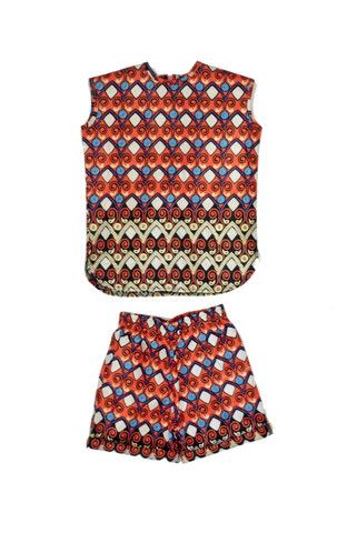 Orange Print Set. Ankara print. 100% cotton. Kids' fashion