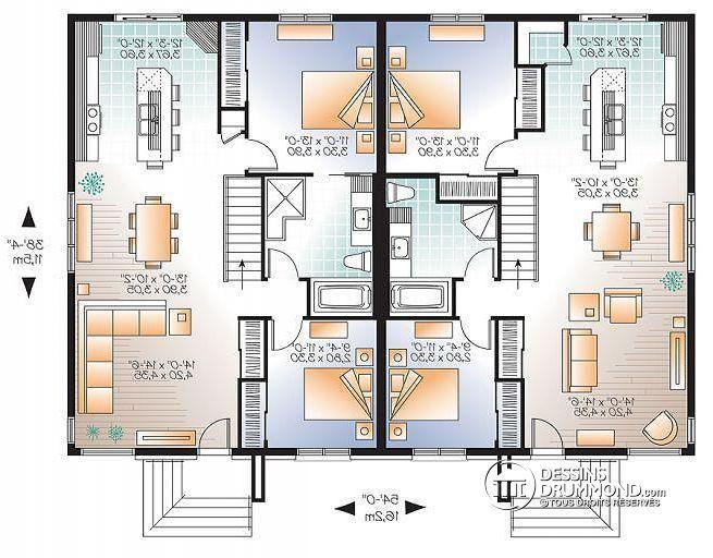plan de rez de chauss e maison jumel e plain pied contemporaine zen 2 chambres ambrose 4. Black Bedroom Furniture Sets. Home Design Ideas