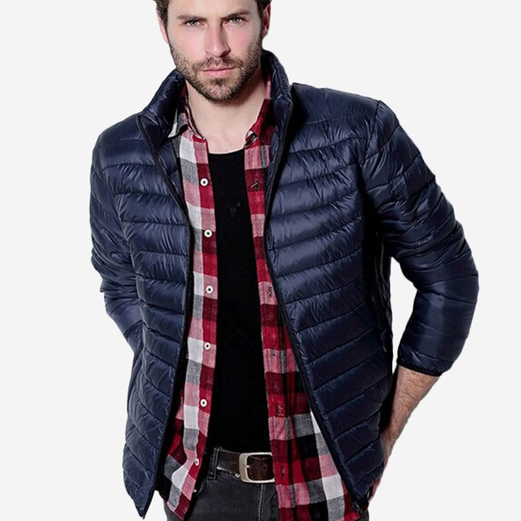 Mens Musim Gugur Musim Dingin Bebek Bawah Laki-laki Jaket Padat Bernapas Jaket Pria Luar Mantel Jaket chaqueta hombre Plus Ukuran 3XL
