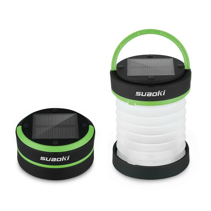 Suaoki Led Camping Lantern Lights Rechargeable Battery (Powered By Solar Panel and USB Charging) Collapsible Mini Brightest Flashlight for Outdoor Hiking Camping Tent Garden Patio(Emergency Charger for Phone * Read more  at the image link.