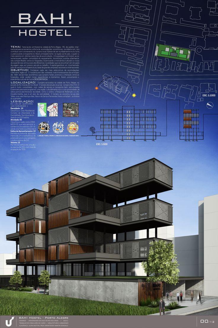 BAH Hostel - Porto Alegre (BRASIL) Prancha síntese ( Presentation Board) do projeto de trabalho de conclusão de Arquitetura - Hostel em Porto Alegre. Desenvolvido por : Laura Mottin #architecture #arquitetura #prancha #sintese #presentation #board #architectural #diagrams #layout #hostel #project #projeto
