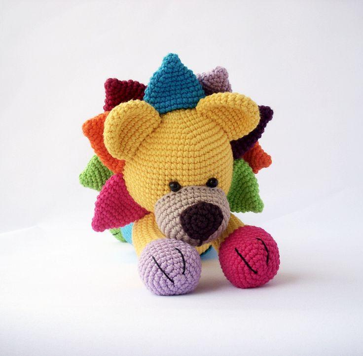Leo, Multicolored lion, Amigurumi, yellow, blue, red ...