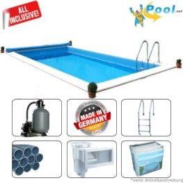 Nice Pool kaufen winterfest im Bausatz guenstig Swimmingpool Schwimmbecken Schwimmbad Pool kaufen freistehend ohne Beton Bodenplatte im Garten Komplettset rund