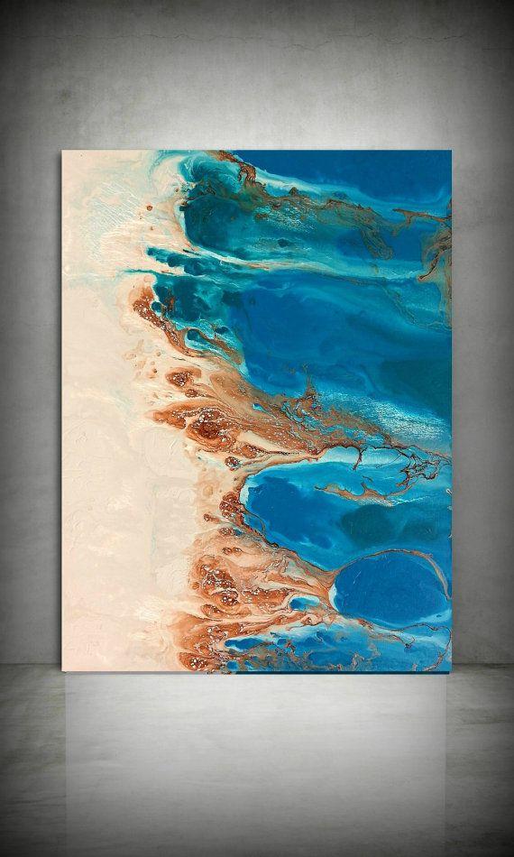 Spiaggia pittura 30x40 astratto pittura acrilico di LDawningScott