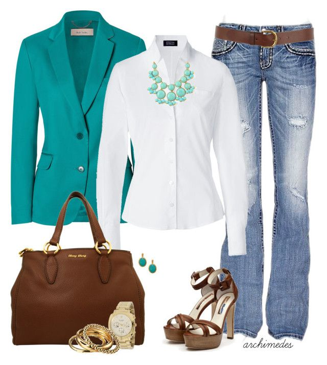A Bit of Turquoise by archimedes16 on Polyvore featuring polyvore, fashion, style, Steffen Schraut, Paul Smith, miss-me, Rupert Sanderson, Miu Miu, D&G, Kate Spade, Warehouse, top handle bags, gold bangles, distressed denim, blazers, oxford shirts, kate spade, multi-strap heels, buckle, rupert sanderson, miu miu and paul smith