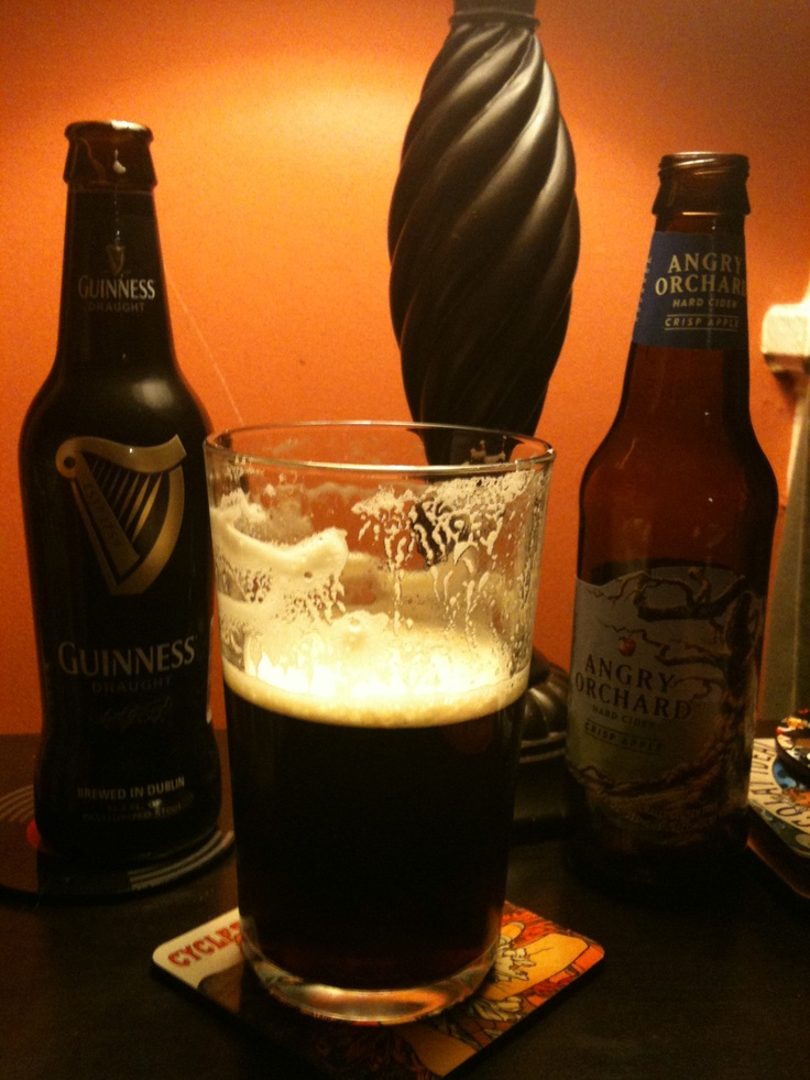 Mix Guinness and angry orchard cider best drink ever ...