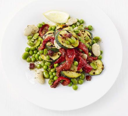 Butter bean, grilled courgette, roast red pepper & chorizo salad recipe - Recipes - BBC Good Food