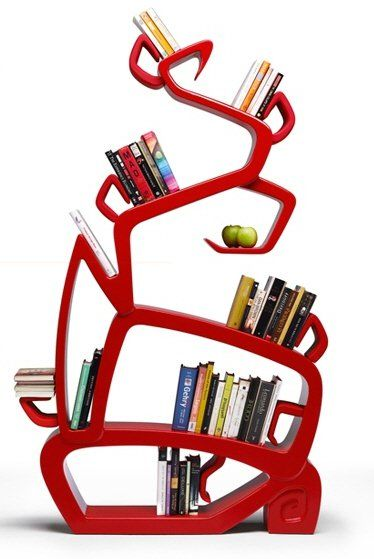 More Dr. Seuss - Red wonky topsy turvy shelves shelving shelf abstract furniture