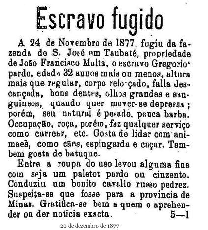 """Anúncio publicado no """"Estado de São Paulo"""", em 20/12/1877 (Café História)."""