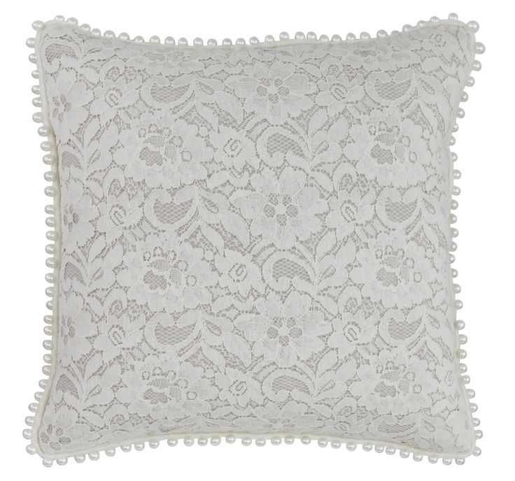 Adelisa Natural White Lace Cushion with Pearl Detail