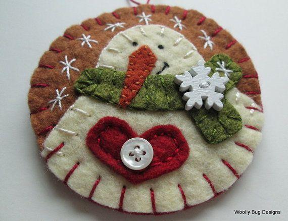 Wool Felt Snowman Brooch / Ornament Brooch Pin by WoollyBugDesigns