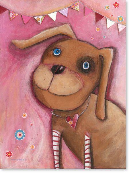 Marvelous Bilder Kinderzimmer auf Leinwand gedruckt f r Jungen und M dchen Motiv Hund Rosalie