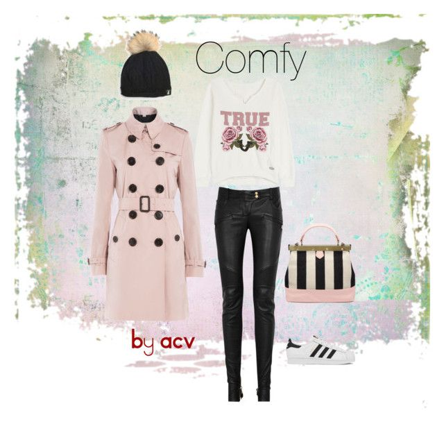 """Comfy"" by amparo-calbacho on Polyvore featuring moda, Balmain, True Religion, adidas y Burberry"