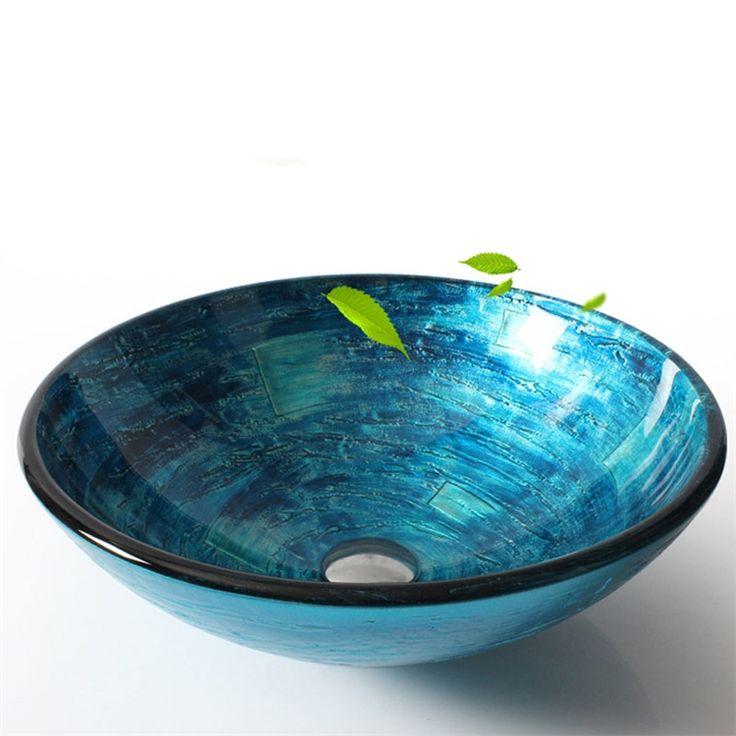 彩色上絵洗面ボウル 洗面台 洗面器 手洗器 手洗い鉢 排水金具付 青色 HAM152