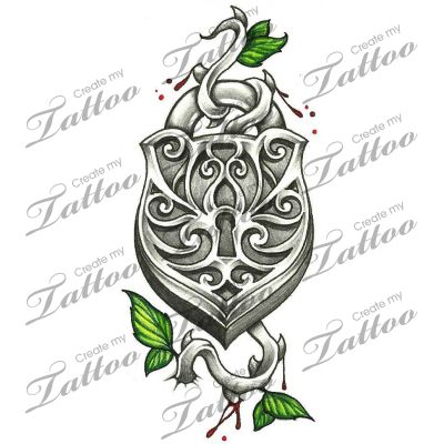 Marketplace Tattoo Vintage Lock with thorny vine, leaves, and blood droplets #14684 | CreateMyTattoo.com