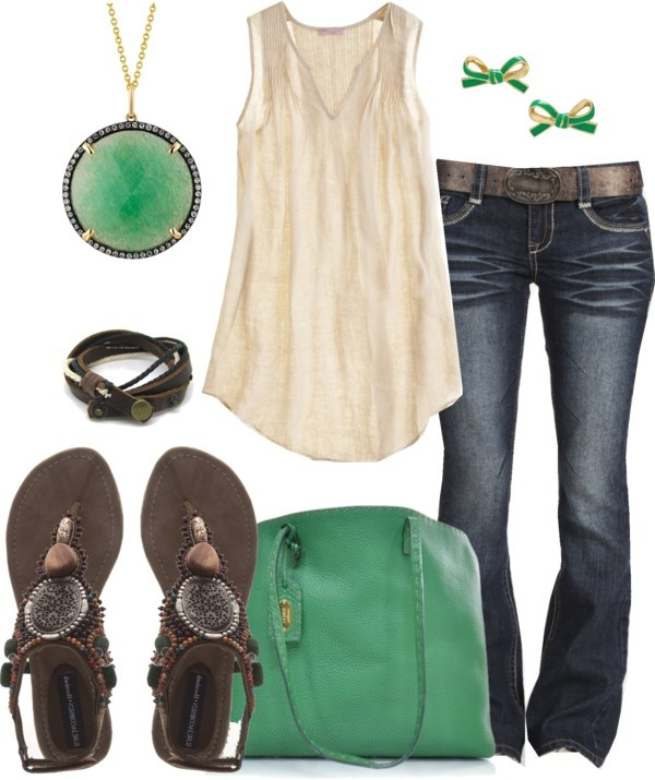 """Relaxed Cream & Green"": Shoes, Casual Outfit, Dreams Closet, Color, Green Accent, Beautiful, The Games, Cream, Earrings"