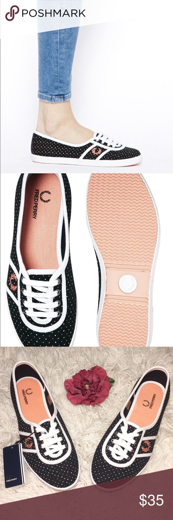 """NEW! Fred Perry """"Audrey"""" Polka Dot Trainers Size 7 Brand new Fred Perry """"Audrey"""" black polka dot trainers in a size 7. Canvas upper. Lace-up fastening. Signature wreath emblem. Contrast piping. Branded, textured tread. Fred Perry Shoes Sneakers"""
