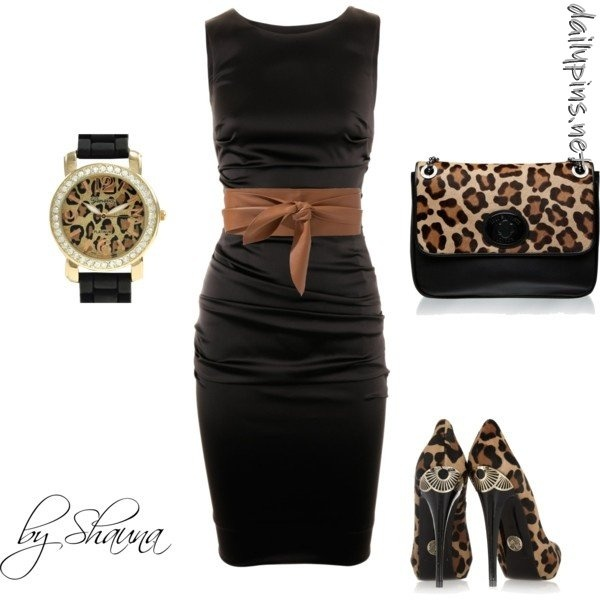 Dolce and Gabbana dress with minimal leopard accessories, created by shauna-rogers on PolyvoreCheetahs, Fashion, Style, Outfit, Leopards Prints, Animal Prints, Dates Night, Little Black Dresses, The Dresses