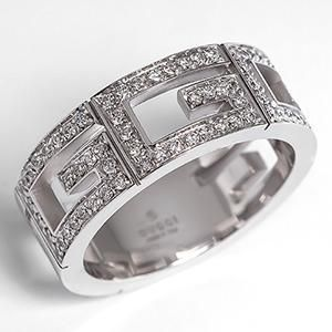 Awesome Gucci G Multi G Diamond Band Ring Solid K White Gold
