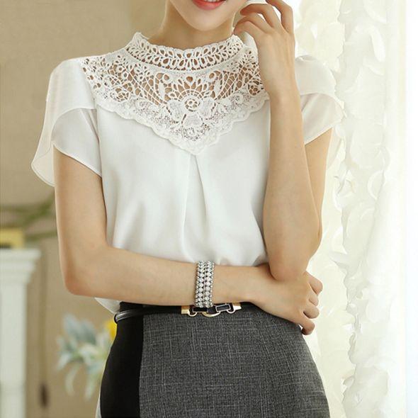 สั้นBlusa 2015ฤดูร้อนผู้หญิงท็อปส์ใหม่เกาหลีเสื้อเสื้อชีฟองเย็บลูกไม้ทำงานเสื้อS0384