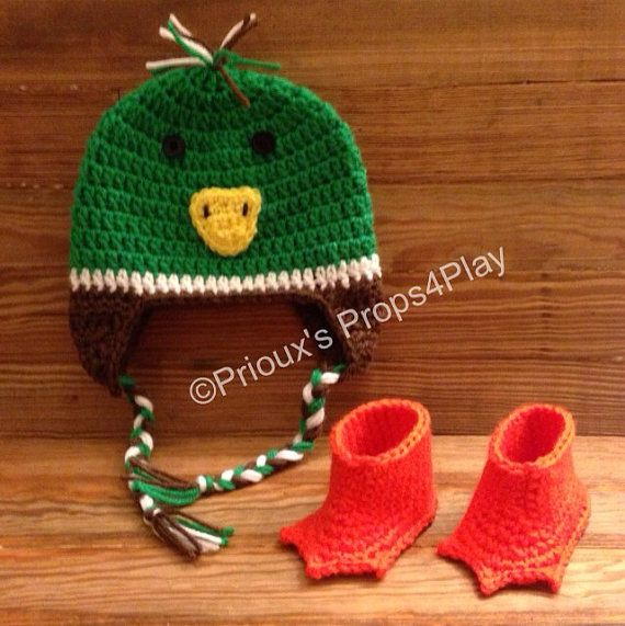Newborn Mallard Duck Costume with Beanie and Booties by Props4Play, $25.00