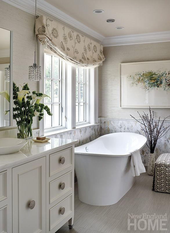 bathroom relaxed faux roman shade valance in barbara barry flowering froth new england home