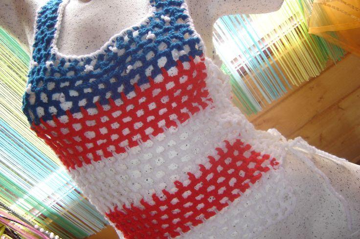 Top, débardeur ajouré drapeau américain au crochet : T-Shirt, debardeurs par…