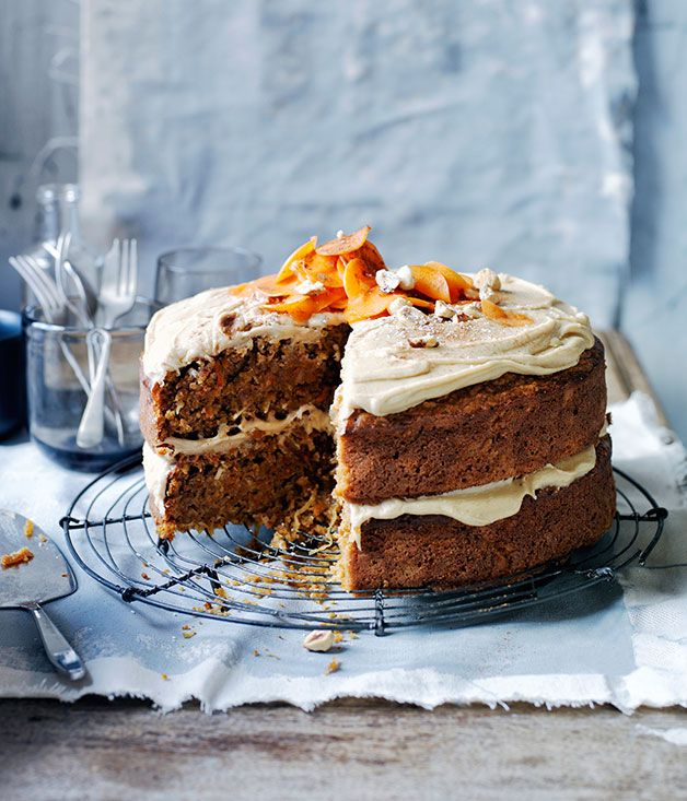 Recipe for ginger-carrot cake with salted butterscotch frosting.