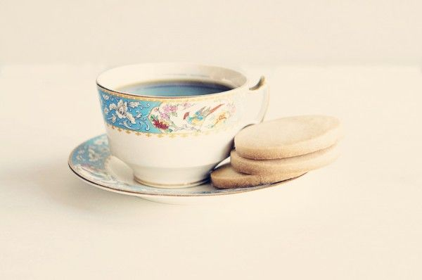 Tea time with shortbread cookies