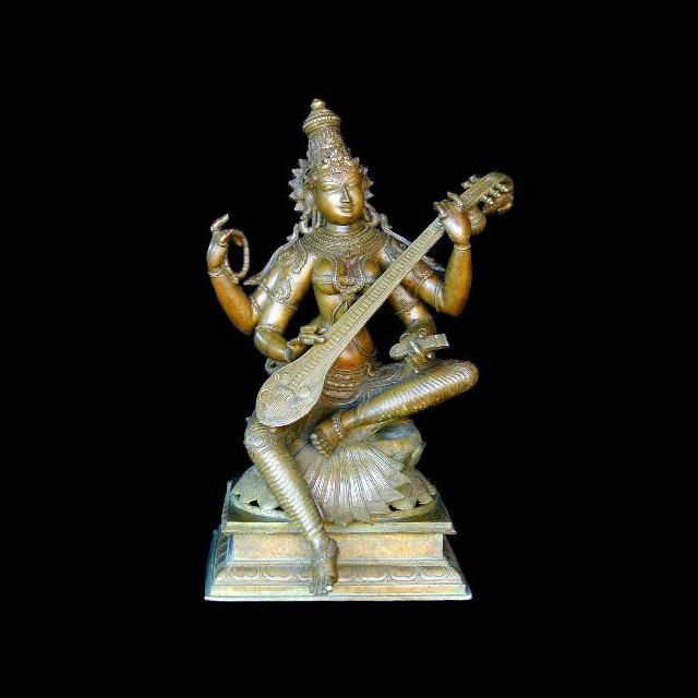 Saraswati - goddess of wisdom, music and education. This finely designed, 19th century bronze statue from Tamil Nadu in India really calls special attention to details.