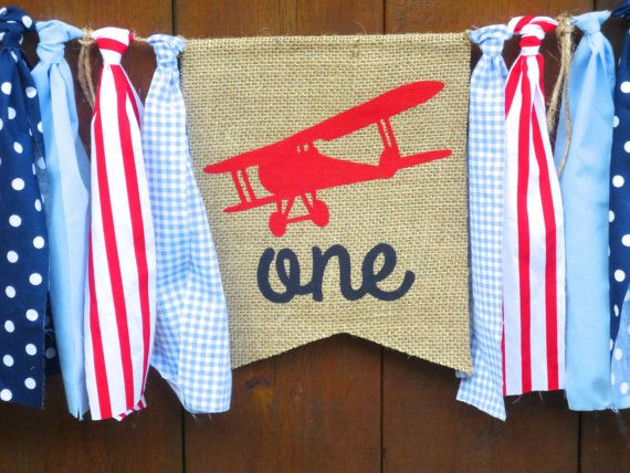 Airplane Birthday Banner Highchair High Chair Up Up And Away VINTAGE Red White Blue First One Party Decor Cake Smash Photo Prop Time Flies
