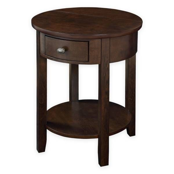 Product Image for Round End Table with Drawer and USB Power Ports in Walnut 1 out of 2