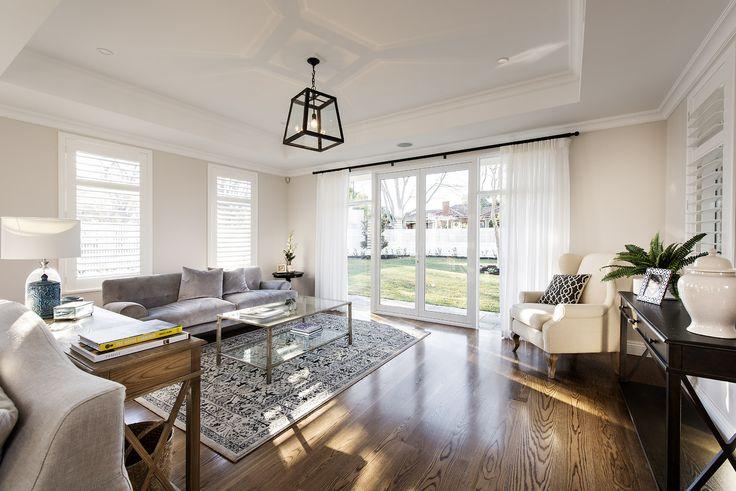 Hamptons style living area - Oswald Homes