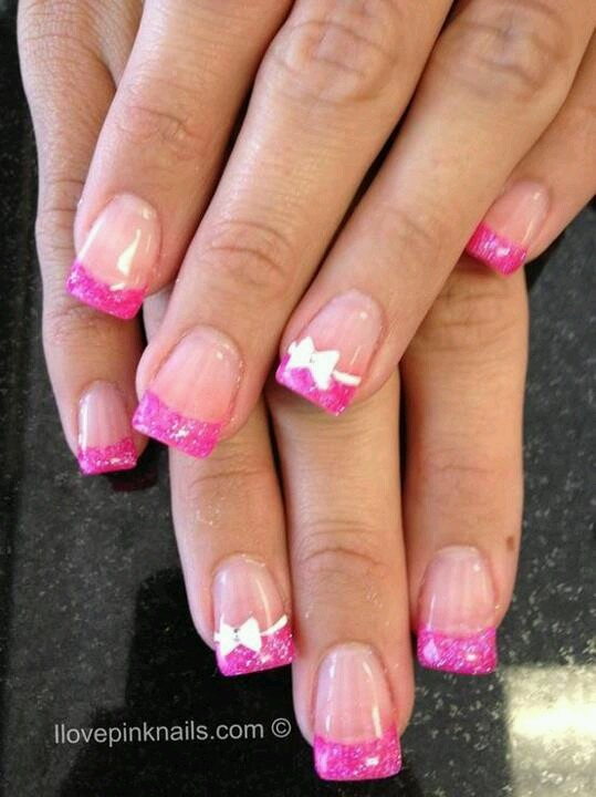 Pink French tip nails with white bows----- just got my nails done like this and they are fabulous! <3
