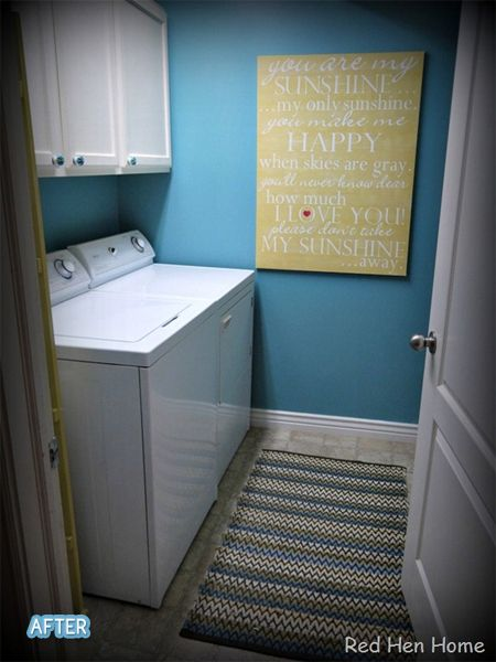 Cute laundry room idea for small space.   Better After: I love the cheerful aqua color :)
