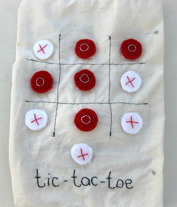 quiet book page- tic tac toe