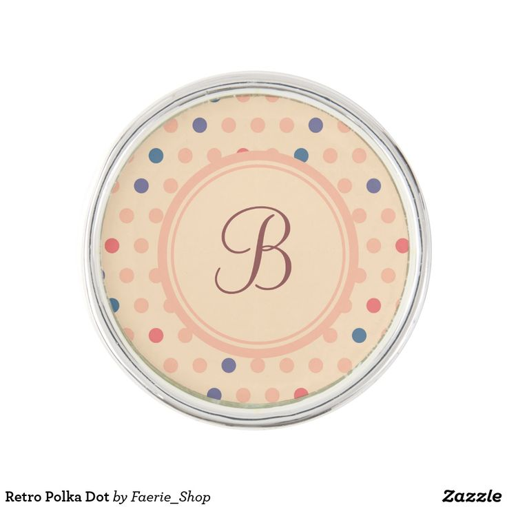Retro Polka Dot Pin #faerieshop #vintage #circle #polka #dot #trendy #pattern #retro #monogram #geometric #monogram #style #simple #abstract #old #design #beige #peach #red #blue #beautiful #fashion #modern #print #background #sale #zazzle #monogram #edit #customizable #gift #present