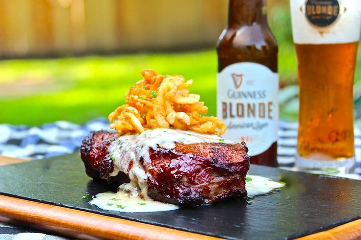 Grilled Ribeye with Meyer Lemon Beer Blanc Sauce and Onion Strings
