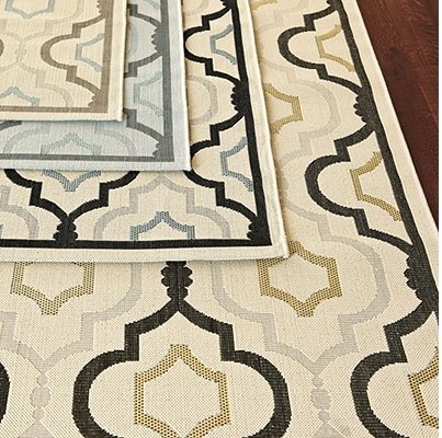 neutral, patterned rugs
