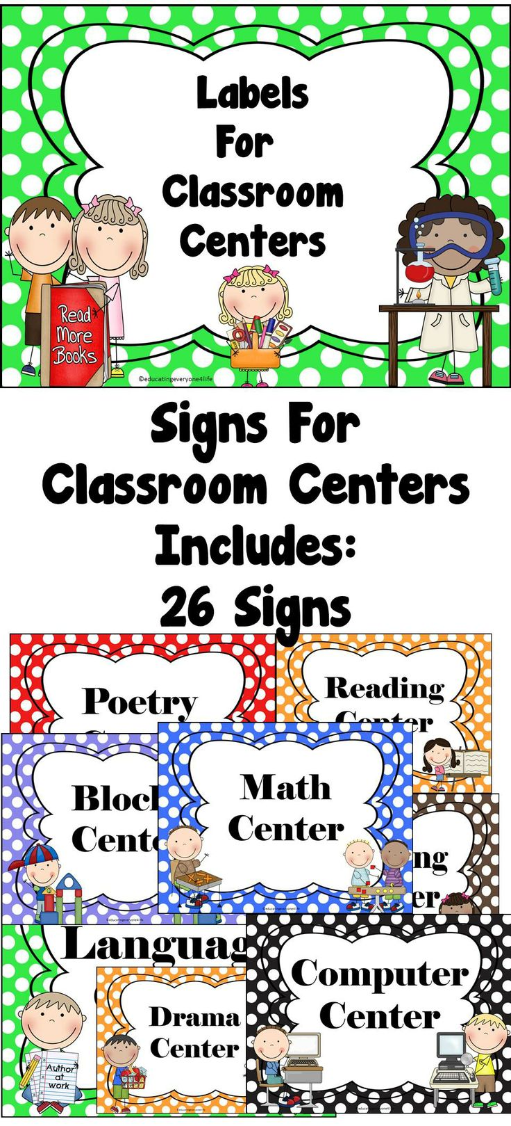 Classroom Center Signs  - A great tool for classroom organization. #TpT #Labels