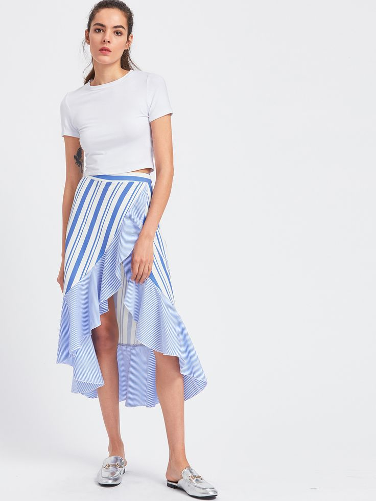 Shop Frill Trim High Low Mixed Striped Wrap Skirt online. SheIn offers Frill Trim High Low Mixed Striped Wrap Skirt & more to fit your fashionable needs.