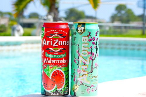 arizona tea.the one on the he right mainly