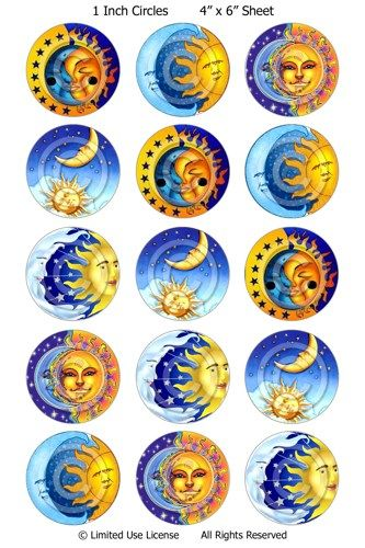 bottle cap images printable moon sun | Digital Bottle Cap Images - Sun and Moon (R692) Collage Sheet ...
