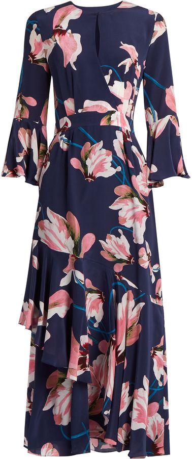 ERDEM Florence Kayo Lily-print silk crepe dress