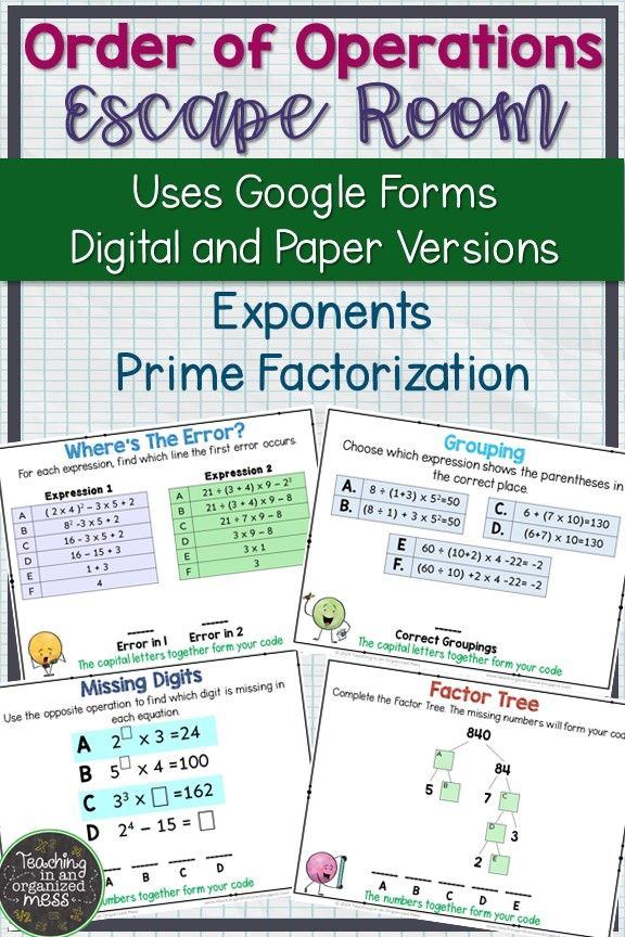 Order Of Operations Exponents Prime Factorization Digital Escape Room Order Of Operations Prime Factorization 8th Grade Math