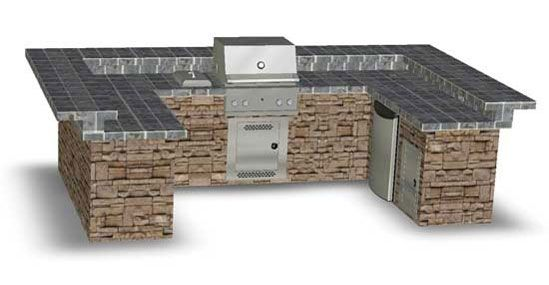 U shape BBQ and Island for our backyard.  This would be awesome at the end of the patio...