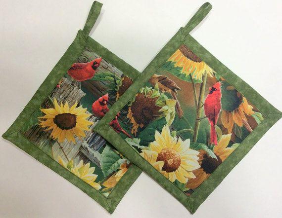 Sunflowerand Cardinal Potholders Sunflower Theme Kitchen